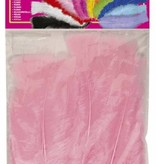 Zakje met 50 veertjes licht roze