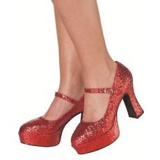 Glitterschoenen dame rood