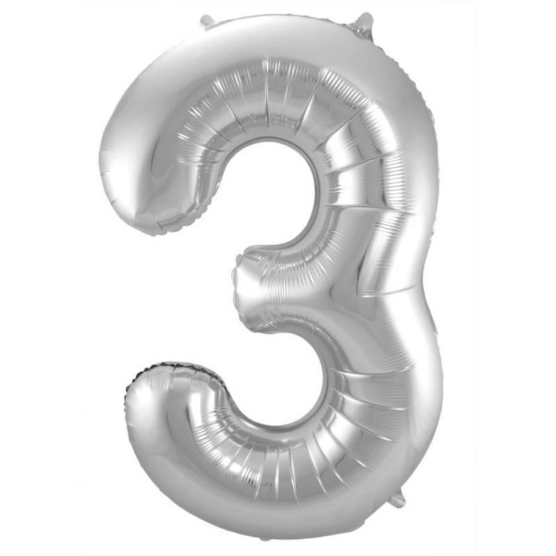 Zilveren Folieballon Cijfer 3 - 86 cm