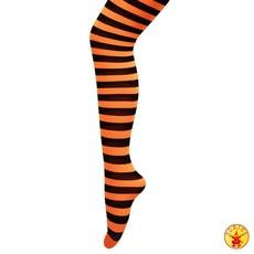 Streeppanty oranje/zwart