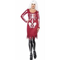 Skeleton beauty kostuum rood