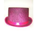 Hoge hoed lurex glitter cerise