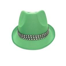 Kojak hoed groen met strass band