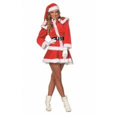 Kerstpak vrouw+muts imitatie fluweel