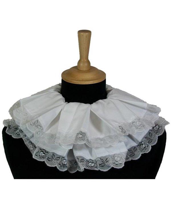 105847b15c6ef7 Piet kraag geplooid met kant wit Piet kraag geplooid met kant wit