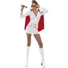 Elvis viva Las Vegas kostuum wit/rood dames