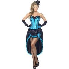Blauwe Burlesque danseres kostuum