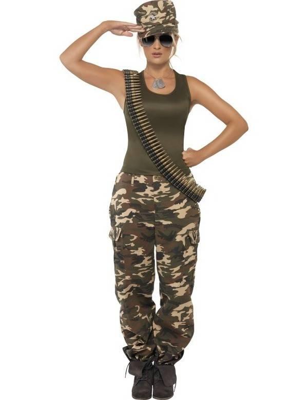 Khaki Camo Leger kostuum vrouw