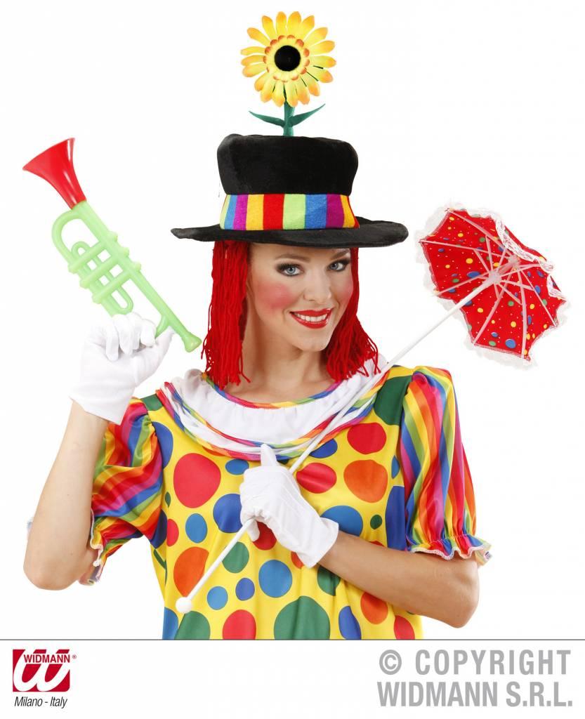 Clownshoed fluweel met zonnebloem en haar