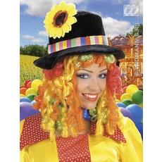 Pruik Clownshoed met bloem en lokken