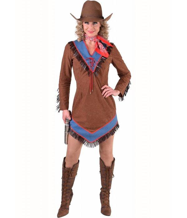 Cowgirl jurk bruin/blauw