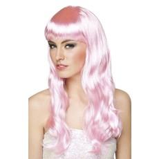 Pruik chique licht roze