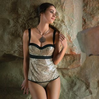 AMBRA AMBRA Dessous Set Lurex BH-top Gold
