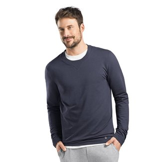 Hanro  Men's·sweatshirt·r/n·l/slv·blue·75072