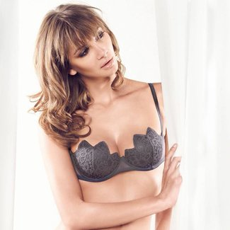 Parah  Parah lingerie ladies Macrame push up bra grey