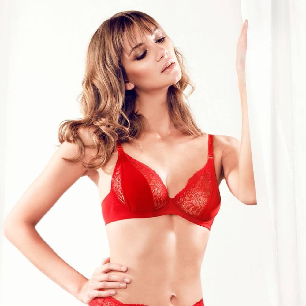 Parah lingerie dames zijden balconette bh rood