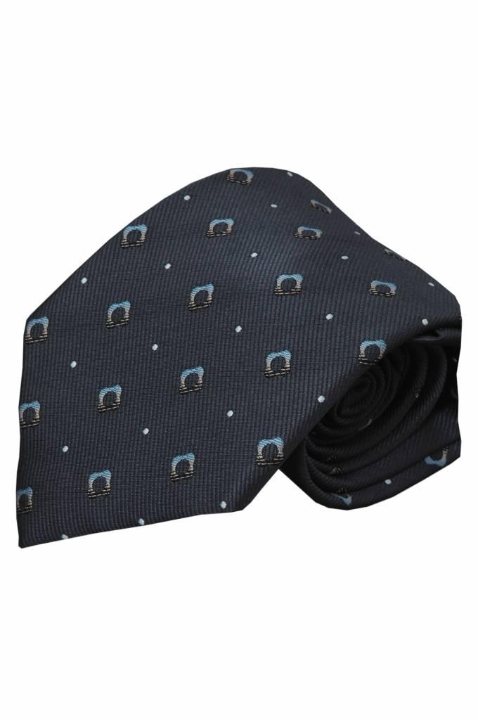 Grijze zijden stropdas Bergamo 01