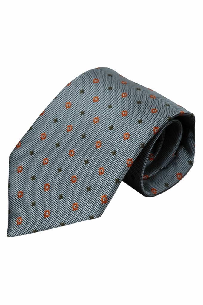 Grijze zijden stropdas Valda 01