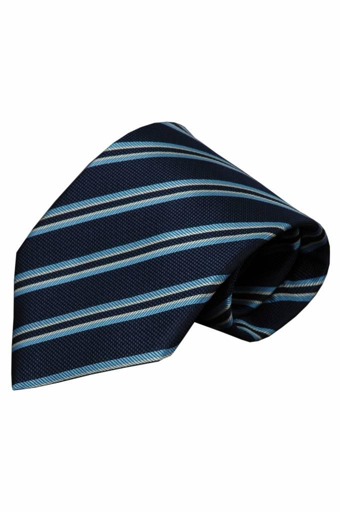 Blauwe zijden stropdas Zibello 01