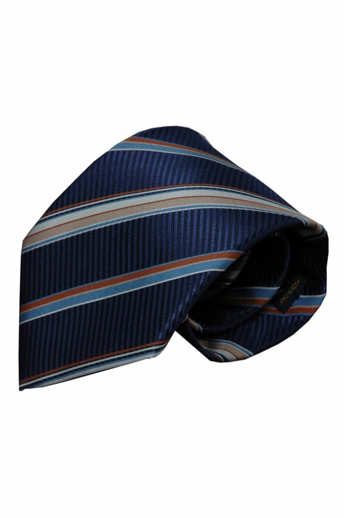 Blauwe zijden stropdas Trieste 01