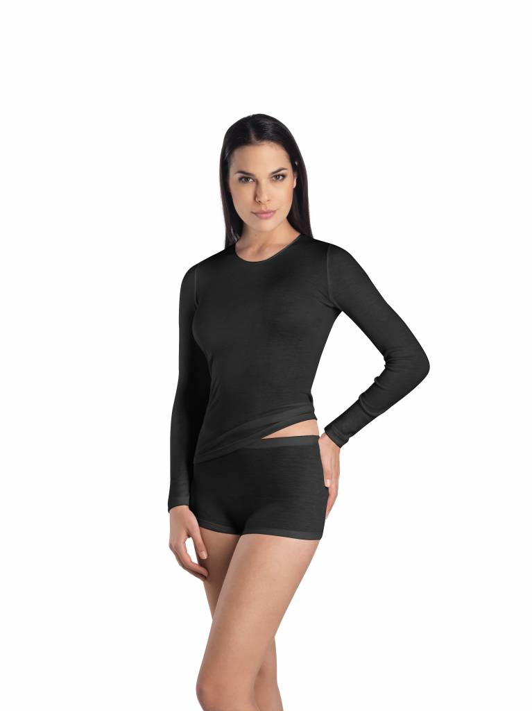 Dames·shirt·Rnek·l/slv·Hanro·Woolen Silk·zwart·71409