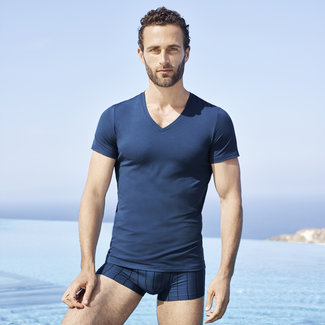 Hanro  Hanro Men underwear Micro Touch  T Shirt s/slv blue