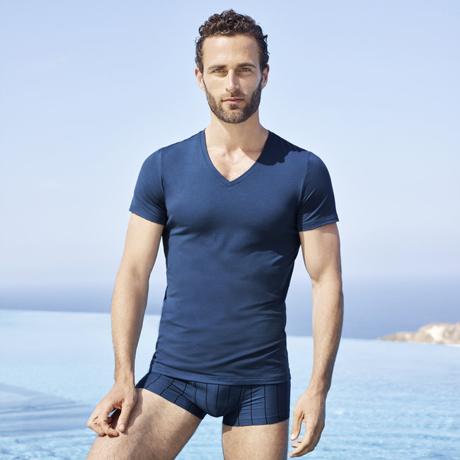 Hanro  Hanro Men underwear Micro Touch  T Shirt s/slv blue
