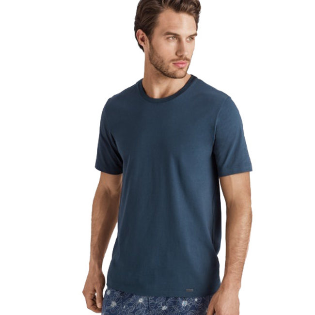 Hanro  Hanro Heren Sleep & Lounge Living Leisure s/slv T- shirt blauw 075050