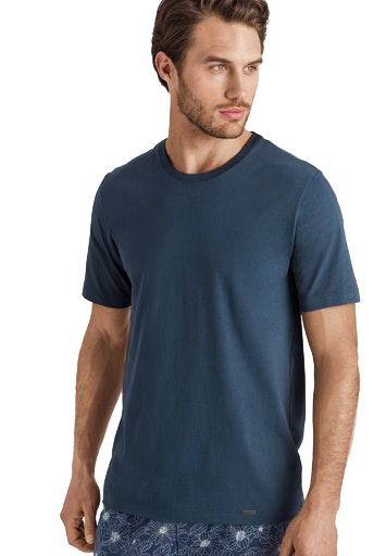 Hanro Heren Sleep & Lounge Living Leisure s/slv T- shirt blauw 075050