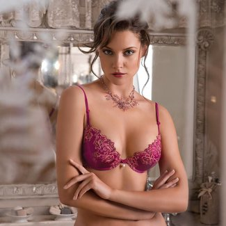 AMBRA AMBRA Lingerie Bras Silk Fuchsia Push-up Bra red