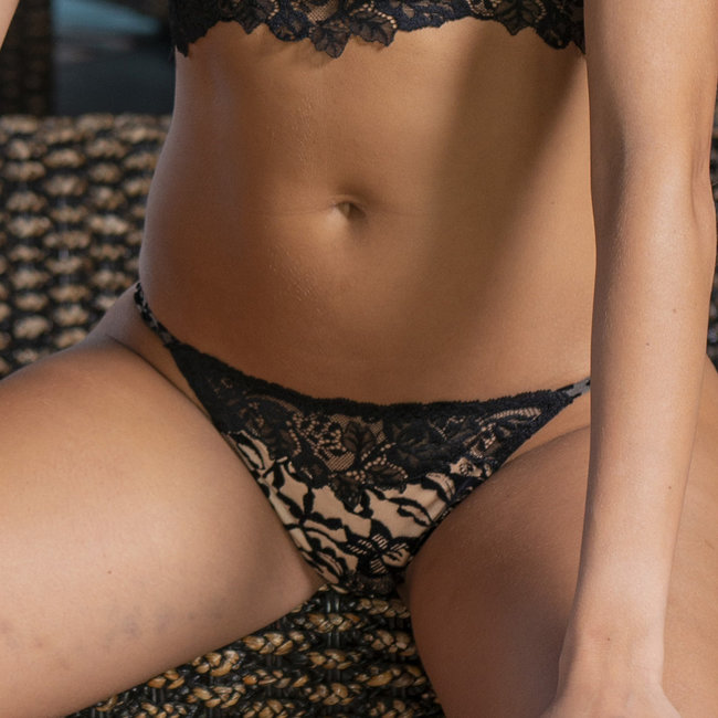 AMBRA AMBRA Lingerie slips DARK /DEEP NUDE Tongh black/brown 1955