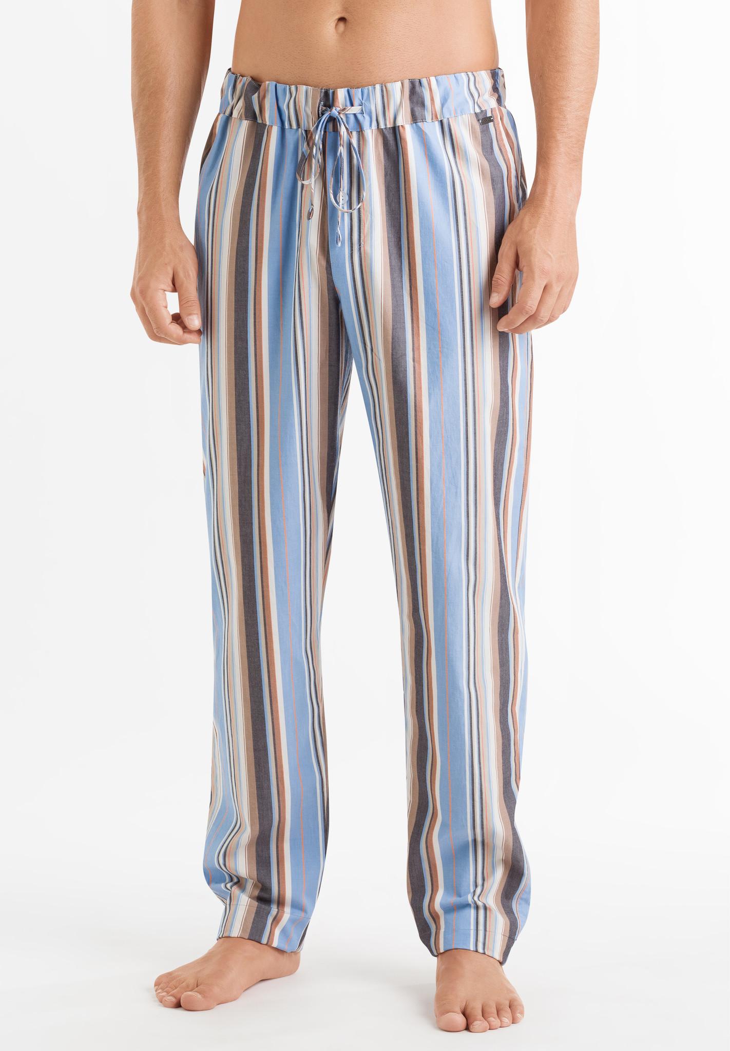 Hanro Heren Sleep & Lounge Night & Day lange broek oranje blauw streep