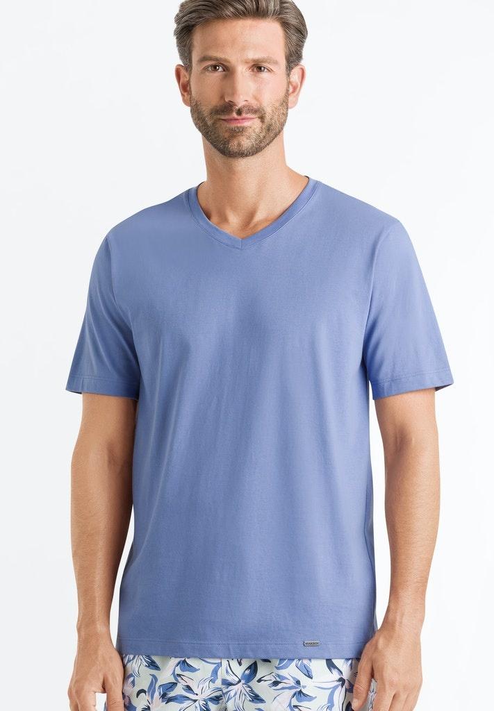 Hanro Heren Sleep & Lounge Living Leisure s/slv shirt blauw