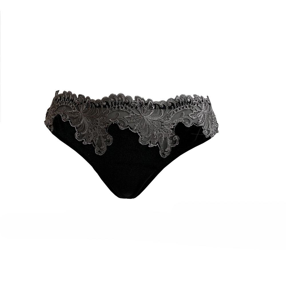AMBRA Lingerie Slips Platinum Royale String zwart/zilver 1630