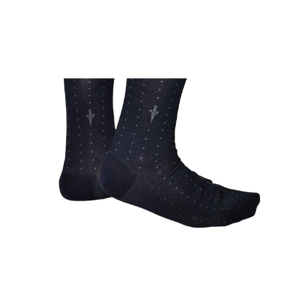 Blauwe sokken met grijze stippen