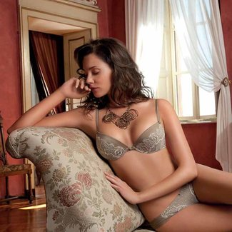 AMBRA  AMBRA Lingerie set Corda Push up Bra+Brasil brown