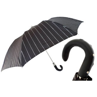Pasotti Pasotti Men's umbrella foldable black with pinstripes