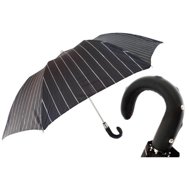 Pasotti Pasotti Men's umbrella foldable black with pinstripes