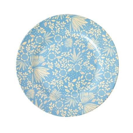 Blauw bord met bloemen