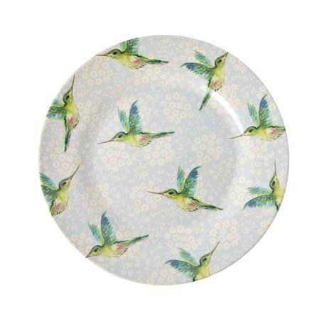 Blauw bord met kolibries