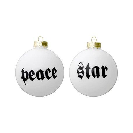 Set kerstballen peace and star