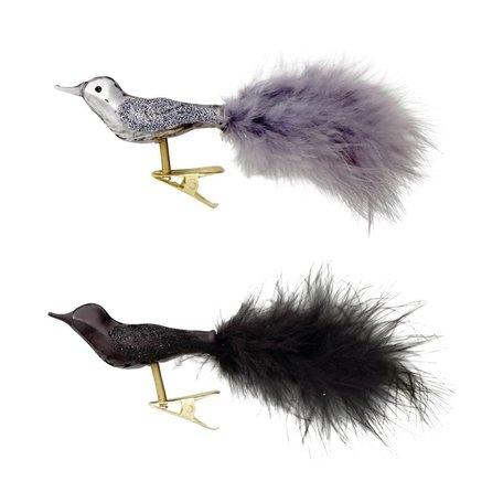 set van 2 kerstboomvogels zwart en grijs