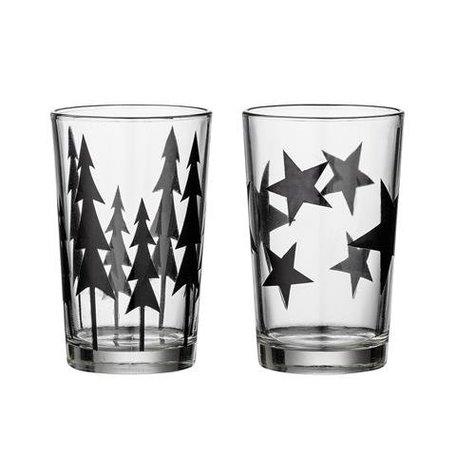 Set van 2 glazen waxinelichten