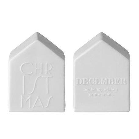 Keramieken huisjes in mat wit/grijs