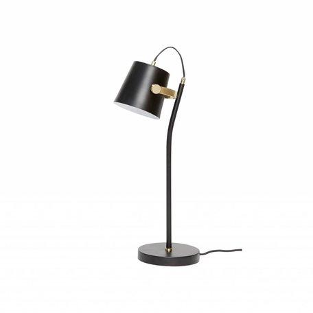 Metalen tafellamp zwart met messing