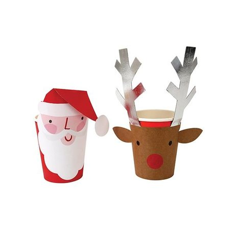 8 papieren bekers santa & reindeer