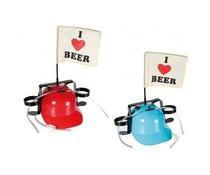 Gadgets Bier helm met vlag, i love beer.