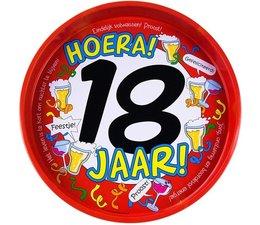 "Biercadeau 18 jaar - Metalen dienblad ""Hoera 18 jaar"""