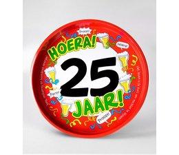 "Biercadeau 25 jaar - Metalen dienblad ""Hoera 25 jaar"""