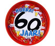 "Biercadeau 60 jaar - Metalen dienblad ""Hoera 60 jaar"""